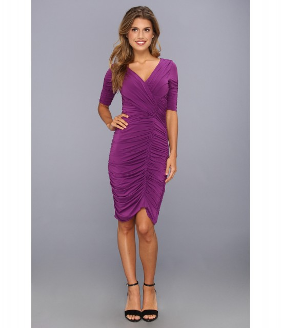 BCBGMAXAZRIA Evert Ruched V Neck Dress