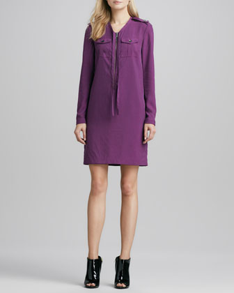 Burberry Lightweight Iridescent Trenchcoat & Zip-Front Shift Dress