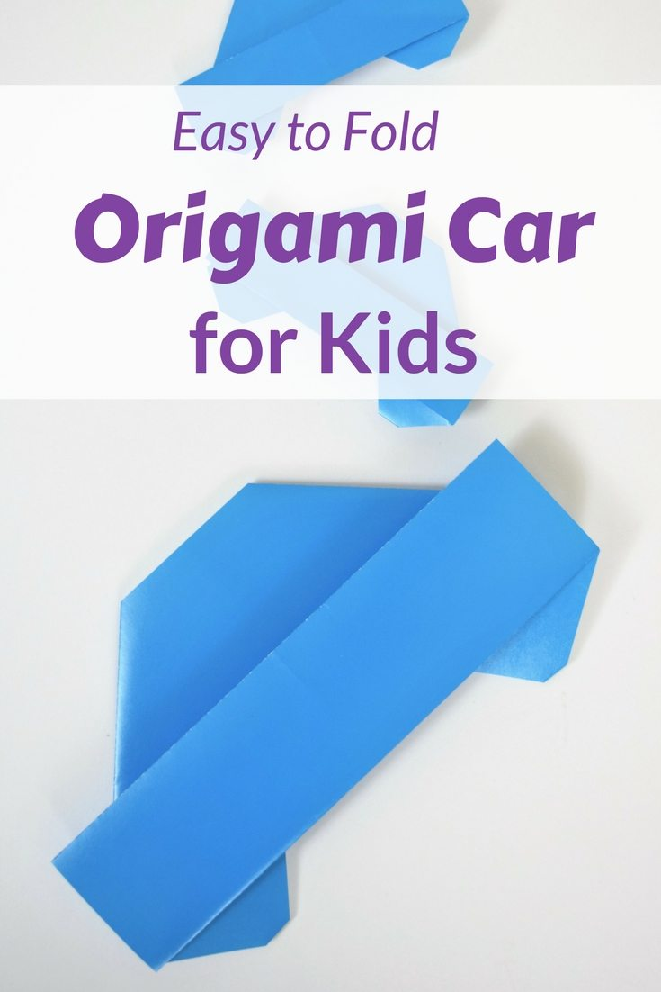 "blue origami car on white background with words ""Easy to Fold ORigami Car For Kids"""