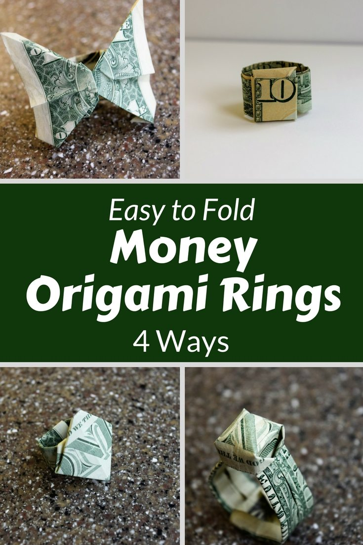 Use a dollar to fold your money in to easy origami rings.  4 different ways for you to choose from, with Video tutorials.  Try one today | Favemom.com