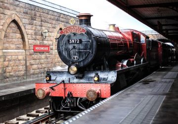 Hogwarts-Express Train stopped at a station