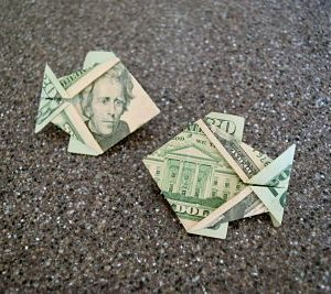 2 $20 bills folded into fish by origami foodie