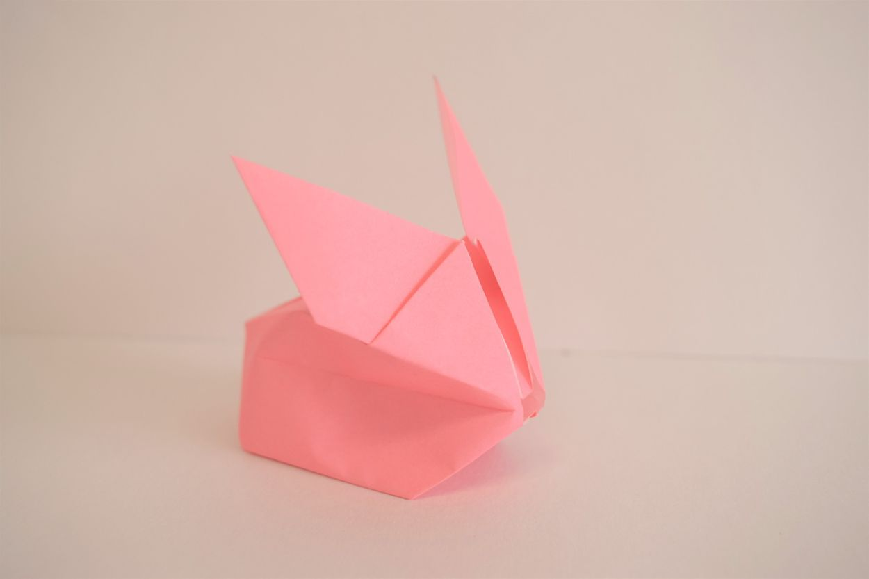 1 lone pink origami bunny