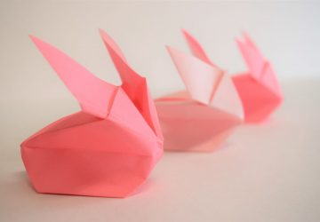 3 pink origami bunnies a line 1
