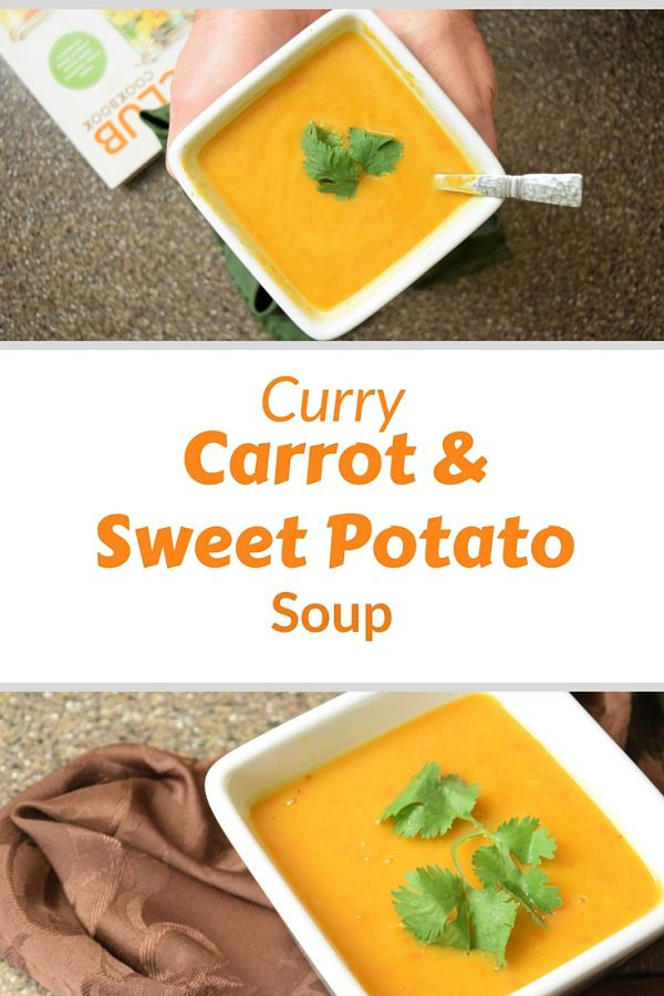 Easy Healthy Sweet Potato Soup with curry and carrots recipe inspired by the Soup Club Cookbook. Plus why I never joined such a club. #currysoup #cookbookclub #soupclub