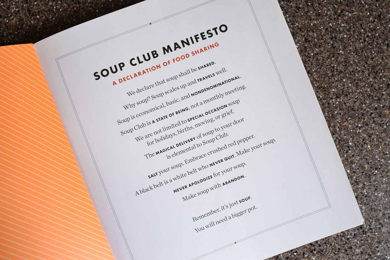 Soup Club Cookbook interior page of the Soup Club Manifesto