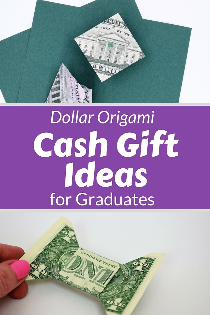 4 easy to make ideas for dollar origami graduation money gift ideas with video tutorials and step by step instructions to follow along. Make these for a quick grad gift. #graduategifts #graduation #moneygiftideas #giftideas