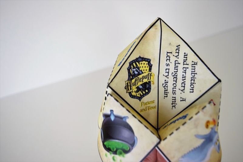 harry potter themed paper folded fortune teller on white background