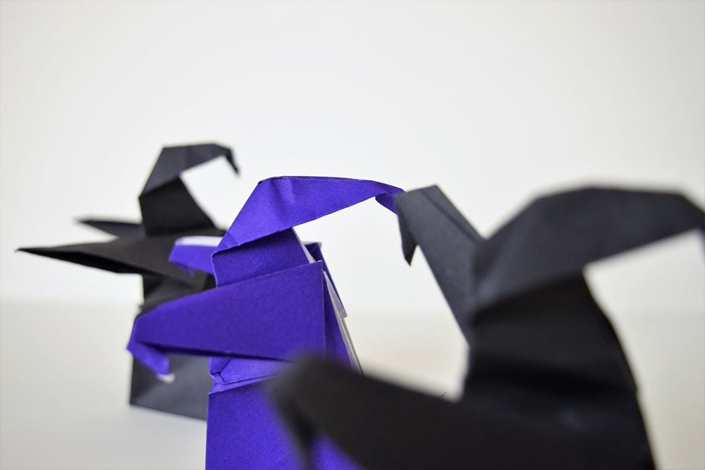 black and purple origami dementors