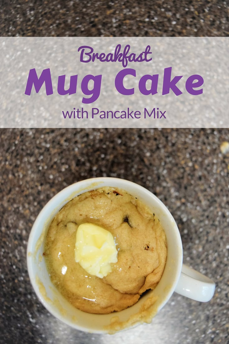 Make a mugcake with pancake mix for a protein filled pancake breakfast in a cup.  #favemom #mugcake #pancake #origamifoodie #breakfast