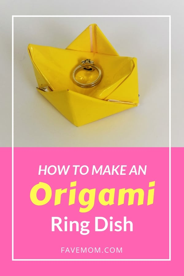 Make this easy to fold origami ring holder dish from a single sheet of paper.  Follow the video tutorial for all the how step by step instructions.  #faemom #origamifoodie #origami #paperfolding #papercraft #origamiring #easyorigami