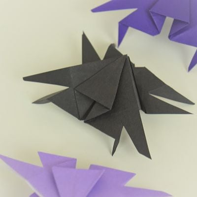 black and purple paper spiders