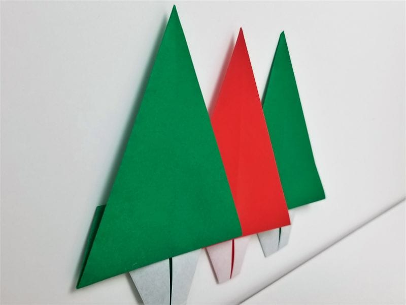 green and white paper chistmas trees